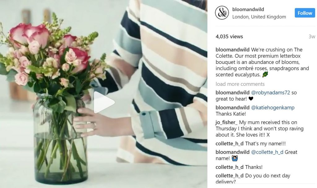 Bloom and Wild Instagram campaigns